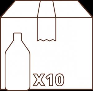 icono caja por 10 botellas 1/2 litro aceite Campo Claro