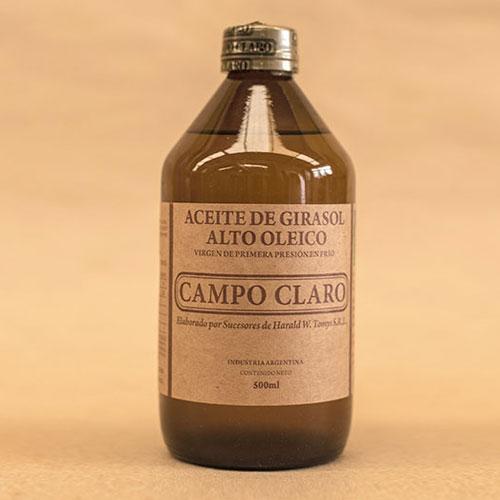 Aceite de Girasol virgen de primera presión en frío Campo Claro
