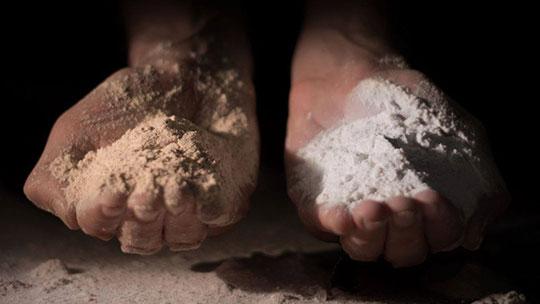 manos con harina trigo pan integral Campo Claro y harina blanca refinada