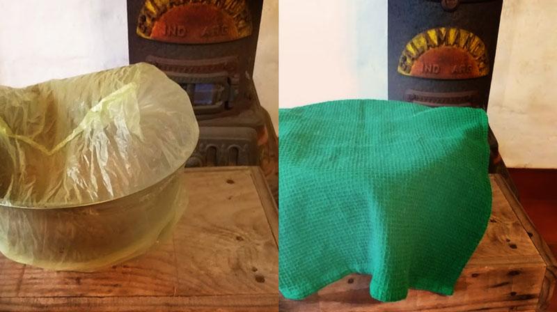 dejar leudar en un lugar cálido, se puede cubrir con una bolsa plástica y con un repasador de tela